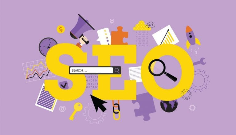 search engine bar overlaying SEO graphic