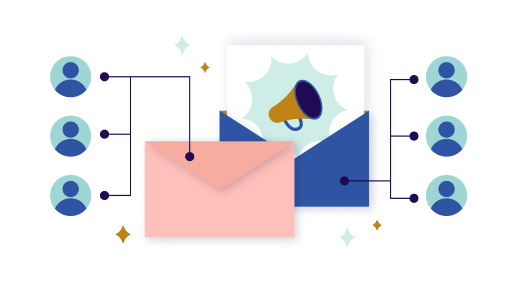 illustration of a email with microphone