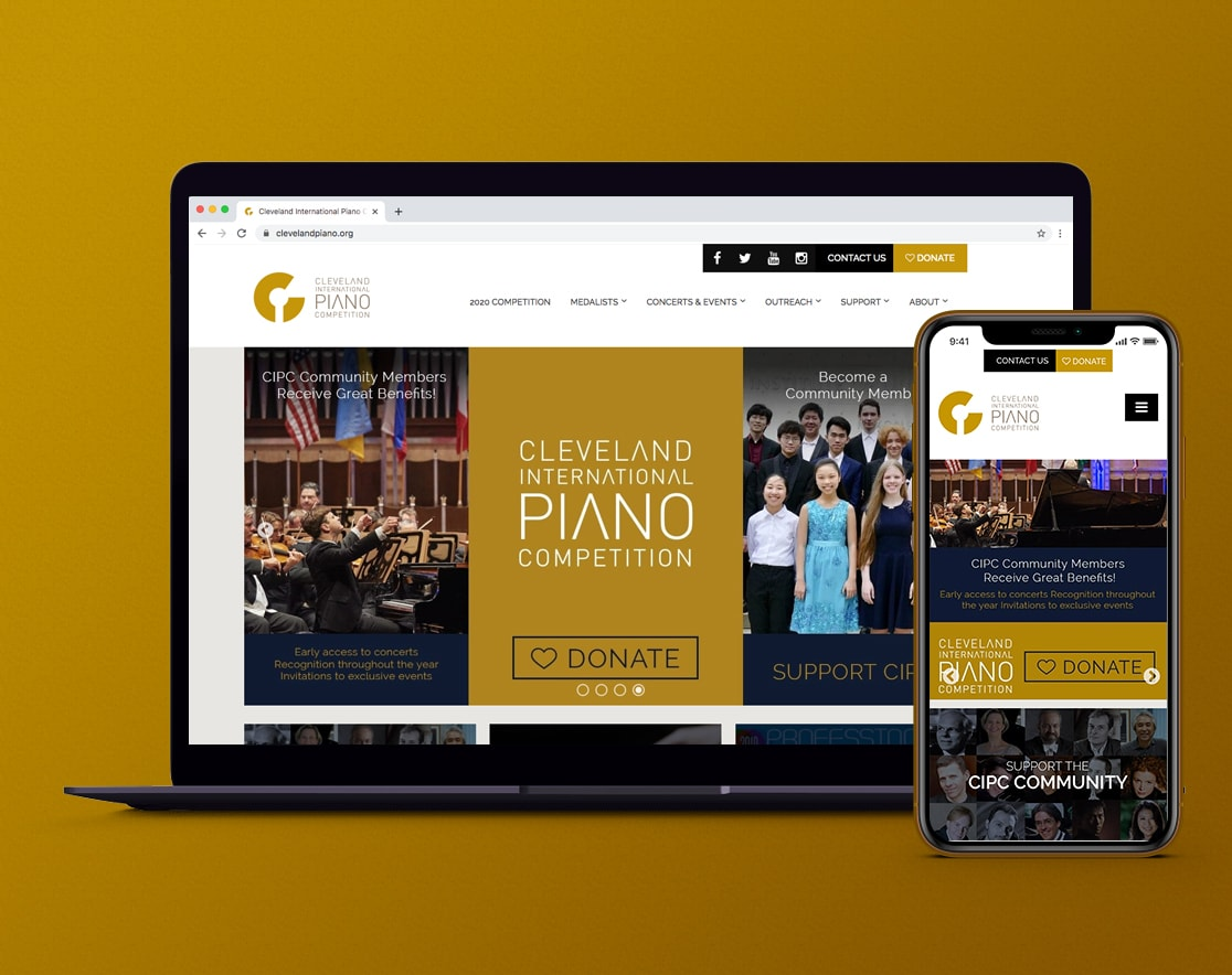 Cleveland Internation Piano Competition website displaying on cellphone and laptop