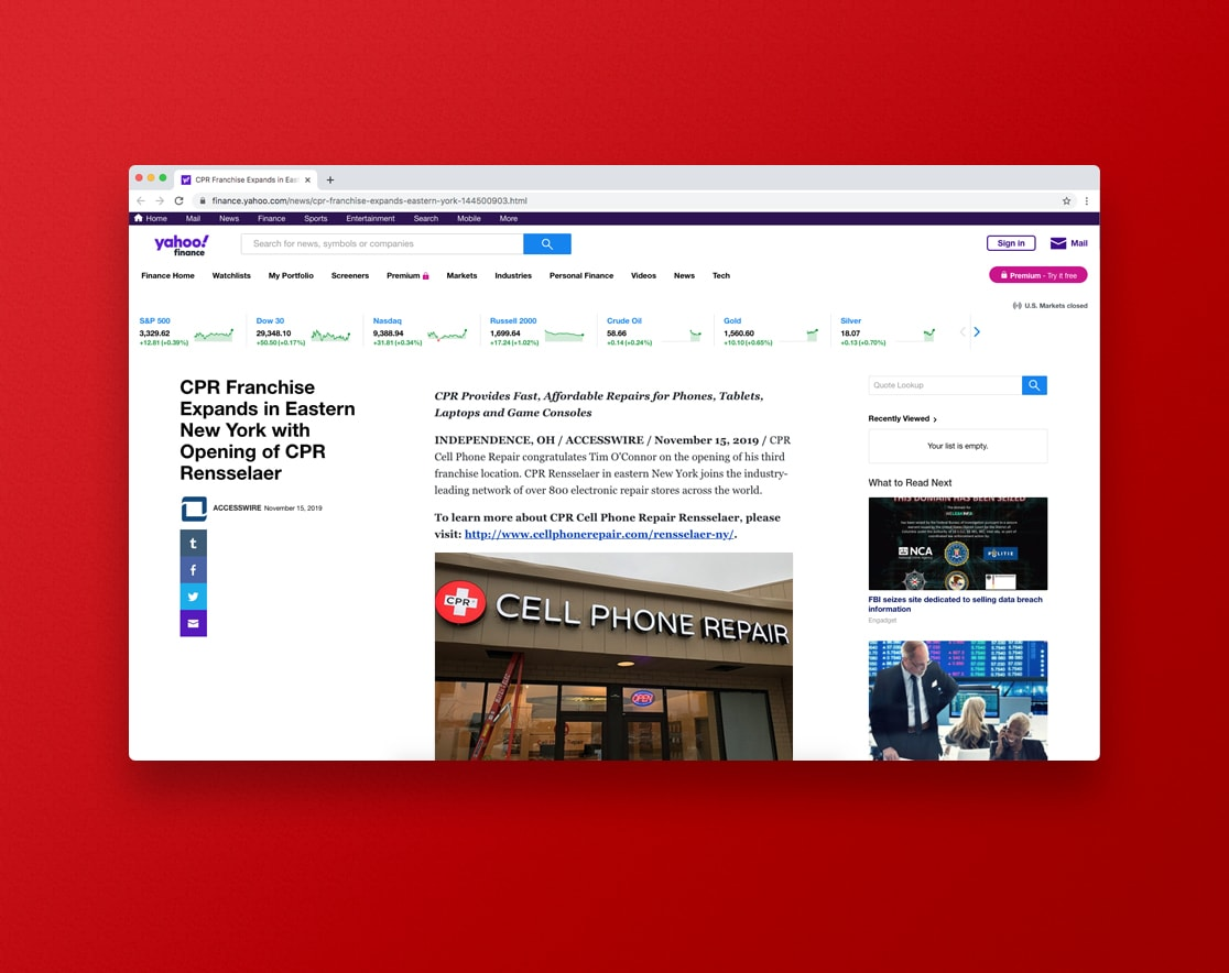 CPR content under marketing Yahoo news