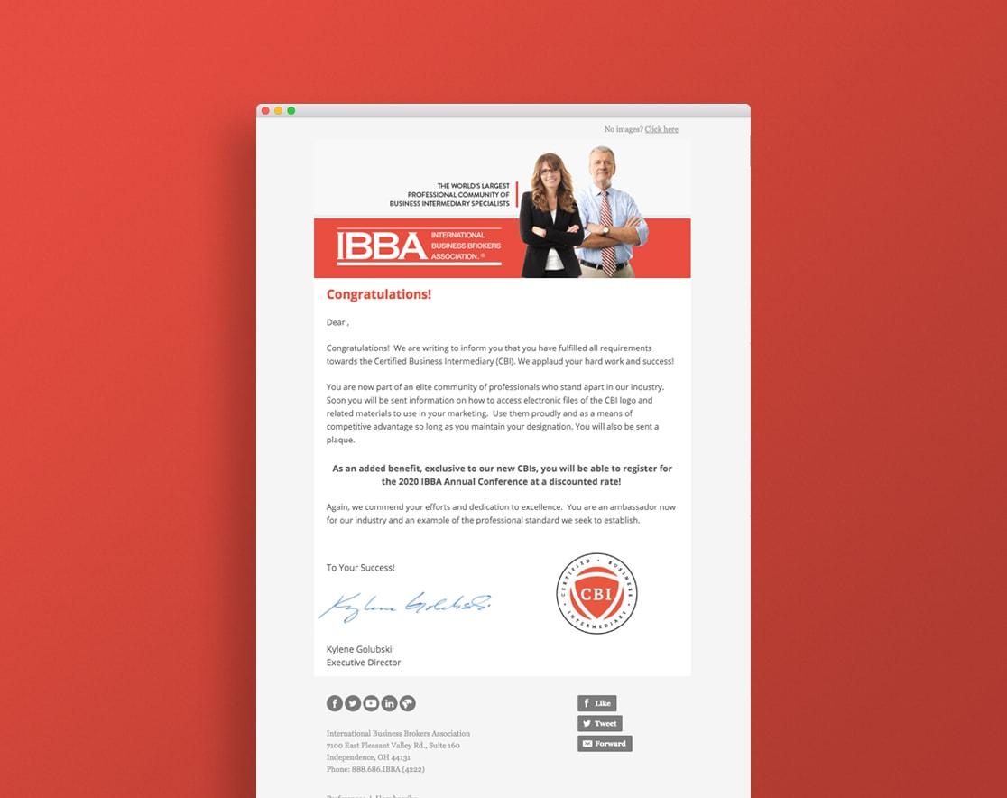 IBBA email congratulating