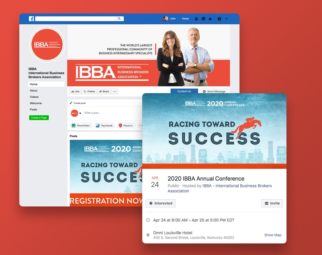 IBBA Social Media Facebook Event Home page
