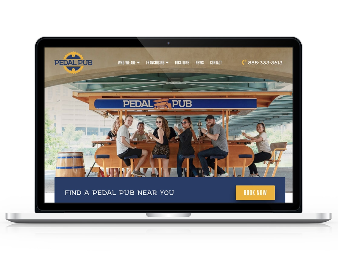 pedal pub website on a laptop
