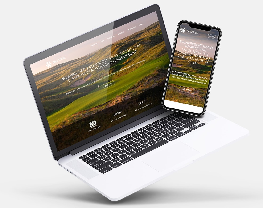 Ballyneal homepage on laptop and phone