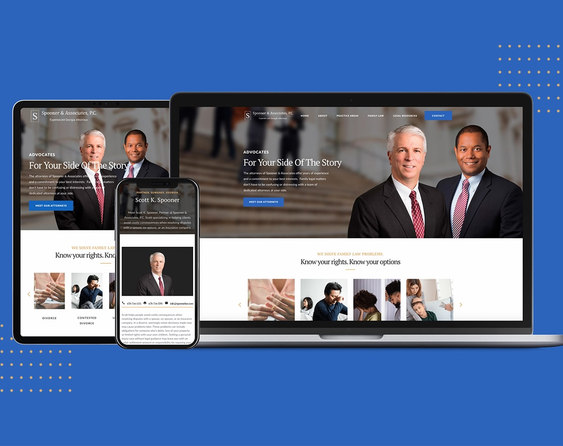 Spooner & Associates website home page on tablet, phone, and laptop