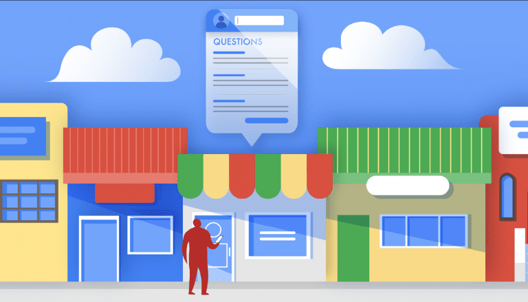illustration of customer visiting store based on google q&a