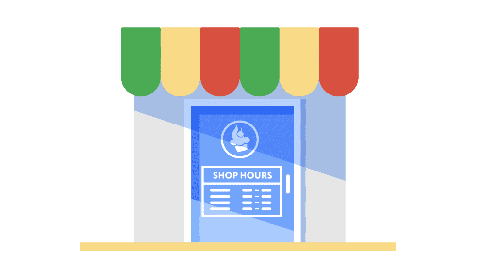 illustration of a store with store hours on the front