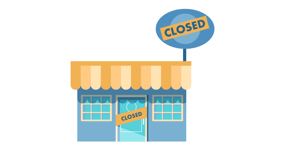 illustration of a store with a closed sign