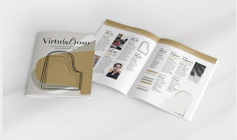 graphic design for virtualoso piano competition for artist relief during covid