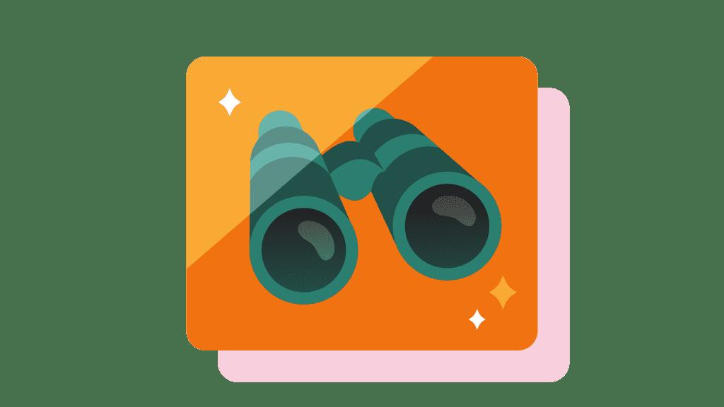 binoculars in a orange square