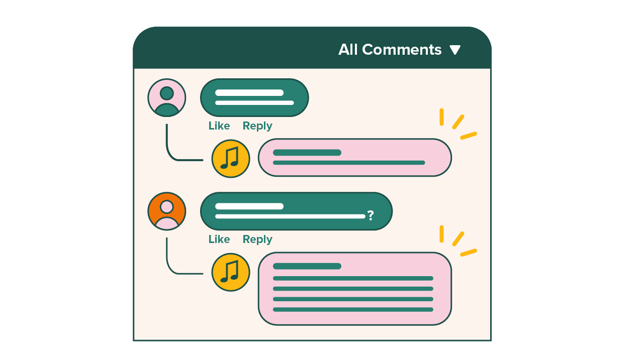 comment section on social media post for piano organization