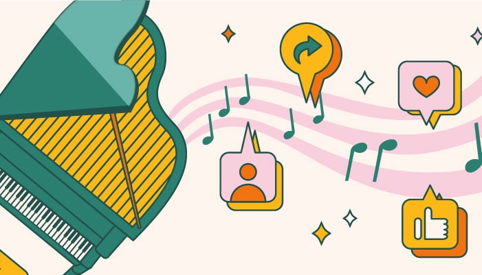 social media tools and features for piano company