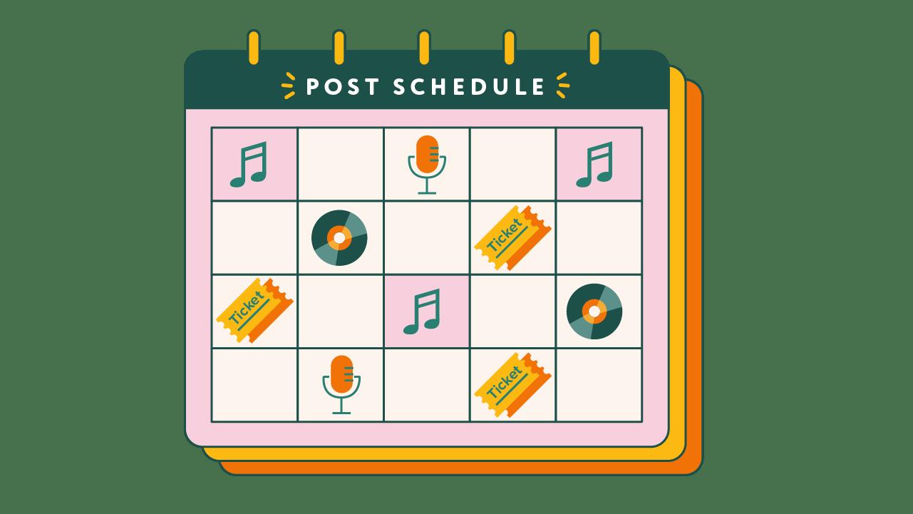 calendar of social media posts for piano company
